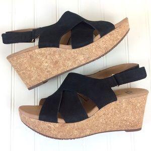 Clarks Annadel Fareda cork platform wedge sandals